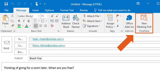 outlook findtime